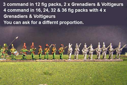 2nd Rgt Advancing, Centre Companies Tuft Plum, Grenadiers in Colpack & Voltigeurs Plume & Epaulettes.