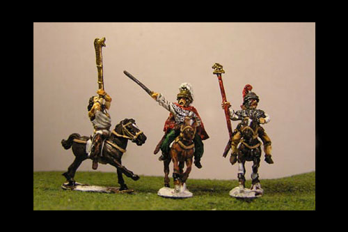 Cavalry Command  1 Noble chain mail, Agen helmet, plume. 1 horn player, 1 standard bearers