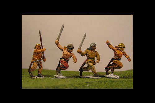 Infantry running with Agen helmets, swords, shields or javelin (3 variants) some with open hands and loose weapons