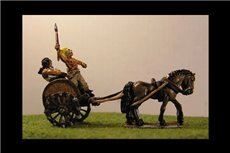 Running light chariot with driver and fighting warrior and 2 horses
