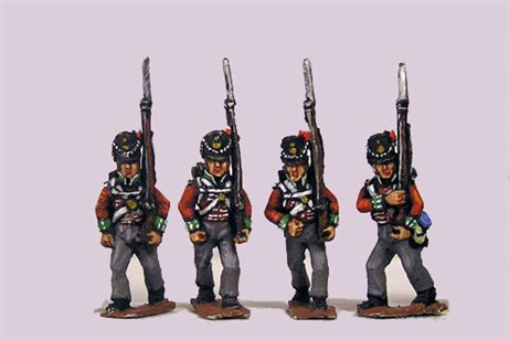 Peninsular British / KGL Line Infantry Marching Belgic Shako 12 figs (1813-15)