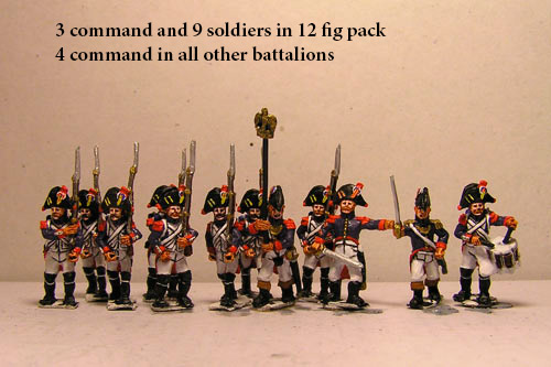 Old Guard Veterans in Bicorn Marching in Full Dress (1804-15) 12 figs