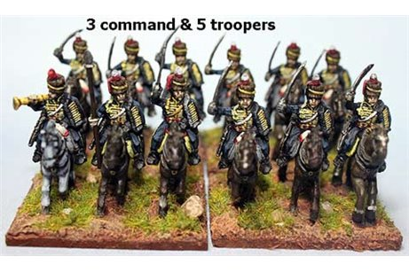 British / KGL Hussars Charging x 8 with Command