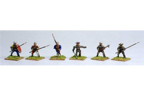 Italian Pikmen of  first rank (Assorted) including one officer.