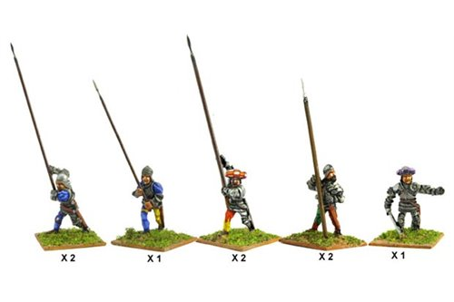Italian Pikmen of second rank (Assorted) including one officer.