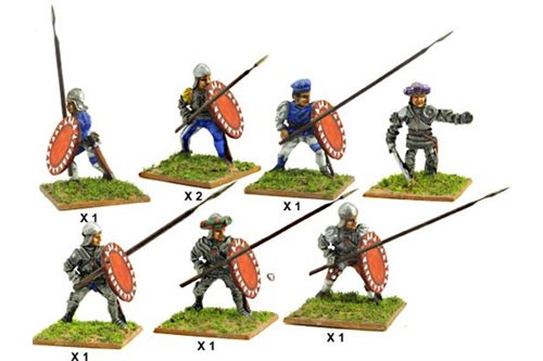 Italian Infantrymen with lance and shield (Assorted) including one officer.