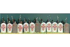 Assorted Pavesari standing with various weapons and Pavesi shields