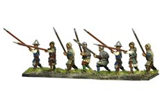Infantrymen attacking with lance and shield (Lanze Longhe)