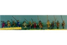 Infantrymen attacking with arms in staff (assorted halberds)