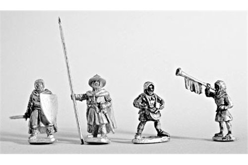 Command group of dismounted Teutonic Knights.