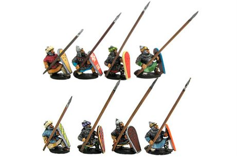 Muslim heavy infantry knealing in defense, lance and shield (4 variants)
