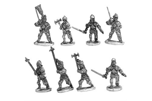 Dismounted knights in fighting (8 miniatures in 8 variants)