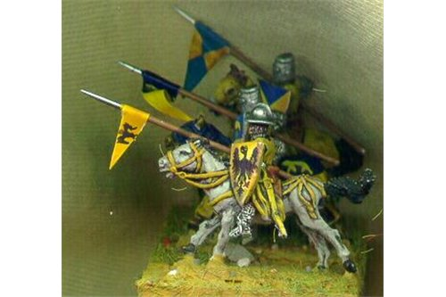 Knights of second tier, with non covered horses, galloping