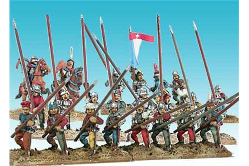 Later Swiss 1400 - 1522 (8 cavalrymen, 45 infatrymen and a bombard)