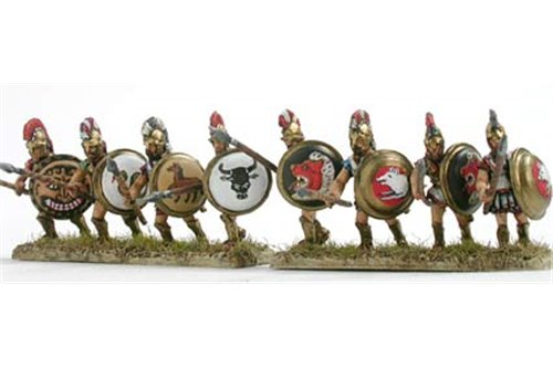 Hoplite, second rank with spear and shield, attacking (3 variants)