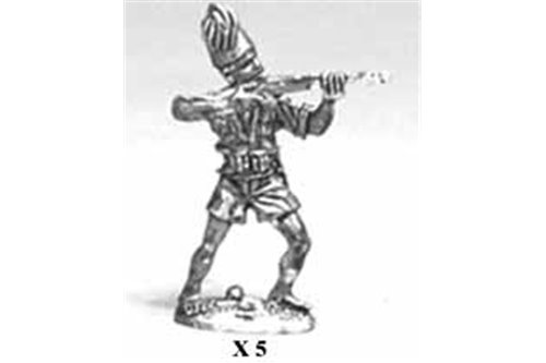 Eritrean Askaris wearing shirts and shorts, firing while standing