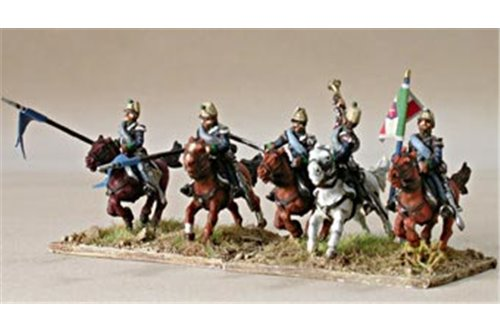 Command group of lancers in campaign dress, charging