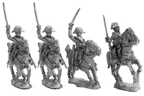 Royal Carabineers in campaign uniform, charging ( three different positions)