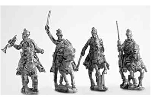 Hussar command group, charging (4 variants).
