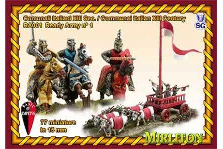 Italian Communal Army - 13th century. (48 cavalry, 28 infantry, 1 Carroccio.two flags.)