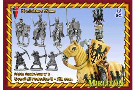 Swabian Army of Frederick II ヨ 13th century. ( 76 infantry, 24 cavalry, 2 flags)
