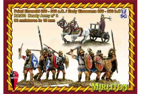 Early Etruscans, 600-380 BC - (12 Cavalry, 84 Infantry, 1 Chariot)