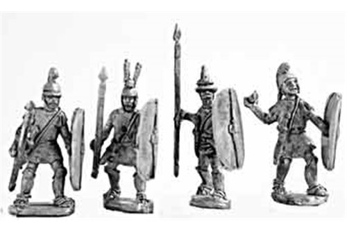 Medium spearmen (class II), armed in italian fashion, attacking (4 variants)