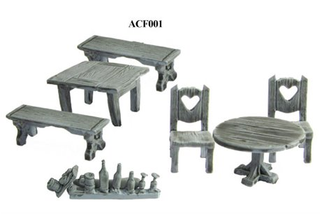 Tables, chair, bench, bottles