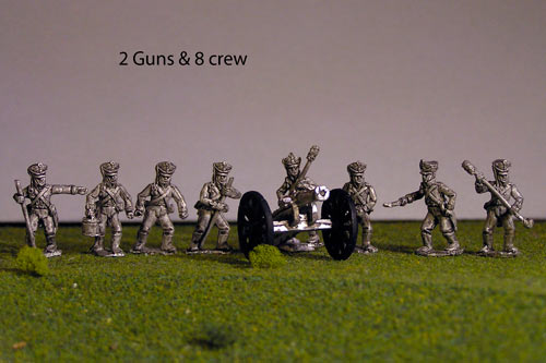 Russian Foot Artillery Battery with 2 x 6lb Cannons and 8 crew