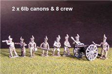 2x 6lb Brunswick Horse artillery  Battery with  British Guns & 8 figures