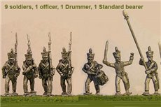 Brunswick Line Infantry Marching 12 figs with Command