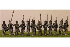 French Infantry in Greatcoat with Flag Pole Bearer & Command Marching
