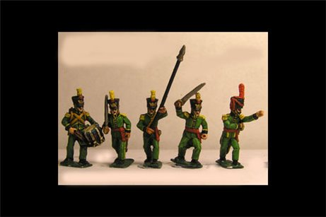 Nassau Infantry Command 1 (5 variants, of 3 officers, Standard Bearer, Drummer) 8 figs