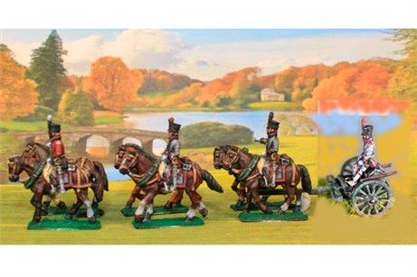 Dutch/Belgian Artillery using British Limber with 6 horses, 3 riders & 1 seated driver