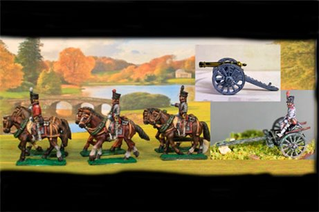 Dutch/Belgian Artillery using British Limber with 6 horses, 3 riders & 1 seated driver plus 1 x 6lb Britsh Gun