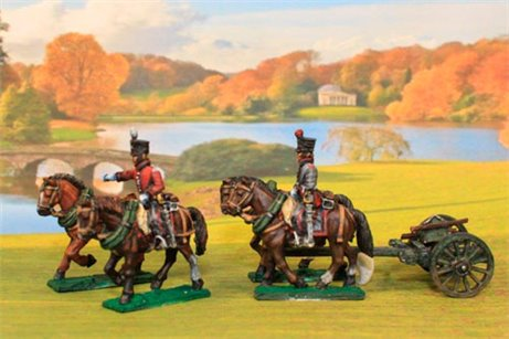 Dutch Artillery using French Limber with 4 horses and 2 riders