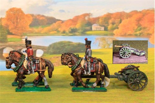 Dutch Artillery using French Limber with 4 horses, 2 riders plus 1 x 6lb French Gun