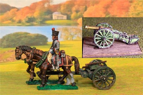 Dutch Artillery using French Limber with 2 horses, 1 rider plus 1 x 6lb French Gun