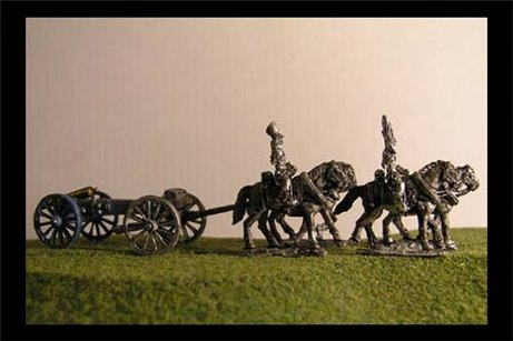 Horse artillery Limber  with 4 horses and 2 riders & 6lb Gun or your choice of caliber