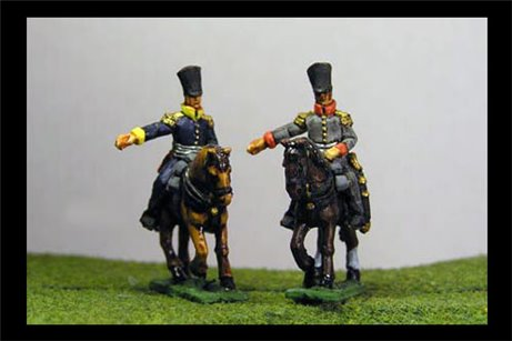 Infantry or Cavalry General in covered shako and long coat x2