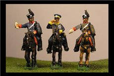 3 x ADCS. 3 diferent figures, 2 in Hussar uniform and shako, 1 in cap and dolman