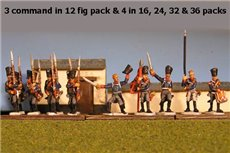 Prussian Line Infantry Marching with Command 12 figs