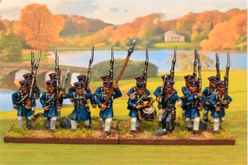 Prussian Landwehr Marching with Command 12 figs
