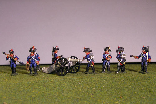 Artillery crew in bicorne and 2 x 6lb Guns