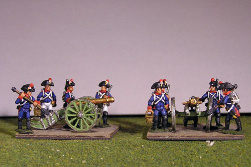 Artillery crew in bicorne and 2 x 8lb Guns