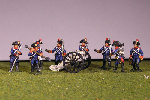 Artillery crew in bicorne and 2 x Howitzers