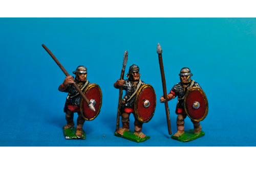 Auxiliary standing with fixed spear. Separate shields included.