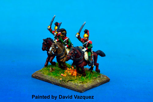 1st Chasseurs à Cheval Elite Company with plume Charging at Waterloo in Helmet x2