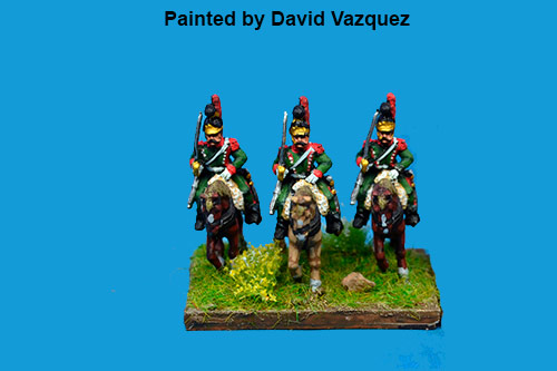 1st Chasseurs à Cheval Elite Company with Plume at Rest at Waterloo in Helmet x2
