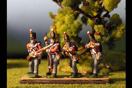Peninsular British Line Infantry Firing/Skirmish Stovepipe Shako12 figs